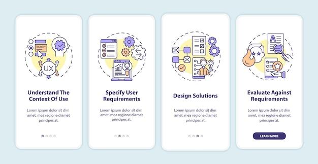 モバイルアプリのページ画面をオンボーディングするユーザー中心のワークプロセス。設計ソリューションのウォークスルー4ステップのグラフィック命令と概念。線形カラーイラストとui、ux、guiベクトルテンプレート