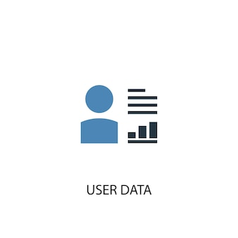 Концепция данных пользователя 2 цветной значок. простой синий элемент иллюстрации. дизайн символа концепции данных пользователя. может использоваться для веб- и мобильных ui / ux