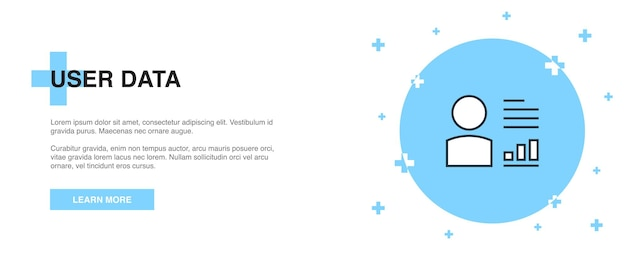 Значок данных пользователя, концепция шаблона контура баннера. дизайн иллюстрации линии пользовательских данных