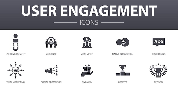User engagement simple concept icons set. contains such icons as audience, viral video, advertising, giveaway and more, can be used for web, logo, ui/ux
