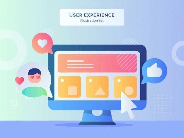 User experience illustration set wireframe ui on computer screen of feedback like heart with flat style