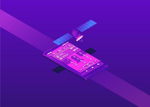 Пользовательский опыт в телефоне в фиолетовых тонах. спутник и телефон в изометрии.