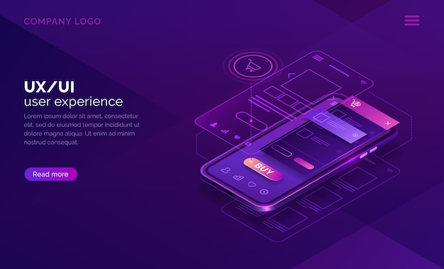 User experience isometric concept, ux ui wireframe