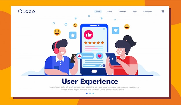 User experience landing page website illustration template