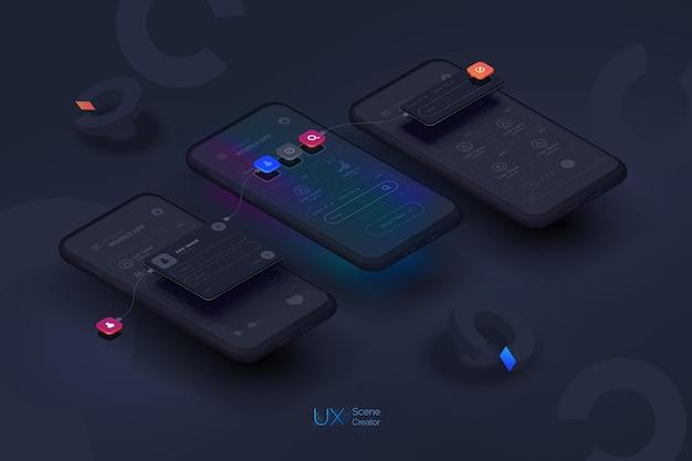 ユーザーエクスペリエンスインタラクティブなユーザーインターフェイスを備えた黒い背景のスマートフォンモックアップ