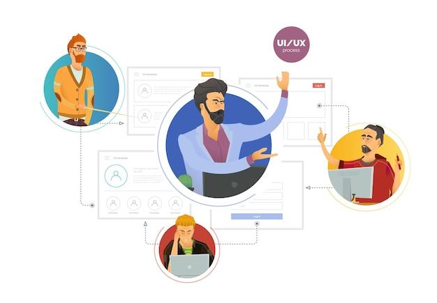 사용자 경험. 인터페이스를 만드는 과정에서 전문가 팀, 웹 스튜디오.