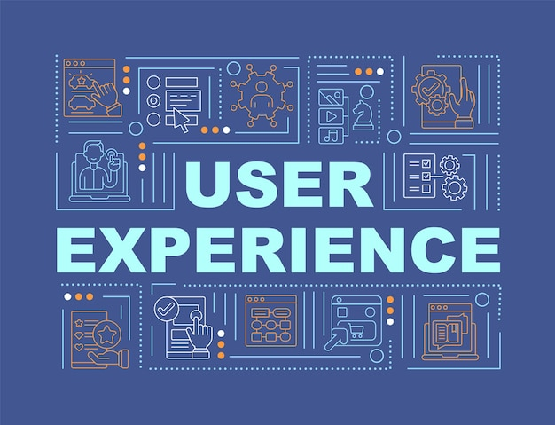User experience word concepts banner. interaction quality improvement. infographics with linear icons on blue background. isolated creative typography. vector outline color illustration with text