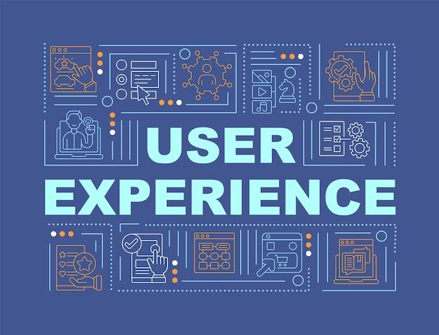 사용자 경험 단어 개념 배너입니다. 상호작용 품질 향상. 파란색 배경에 선형 아이콘으로 인포 그래픽입니다. 고립 된 창조적 인 인쇄술. 텍스트와 벡터 개요 컬러 일러스트