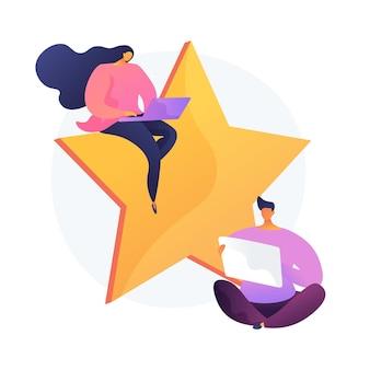 Feedback degli utenti. questionario internet, sondaggio online, sistema di classificazione. espressione dell'opinione dei clienti del servizio. utenti con personaggi dei cartoni animati di laptop.