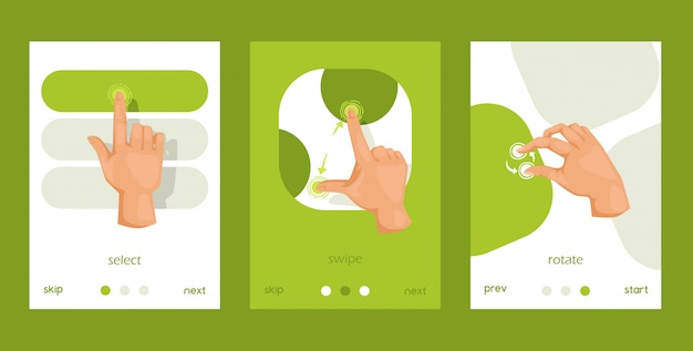 User friendly interface, moves set of cards, posters. mobile tablet touch screen hand gestures
