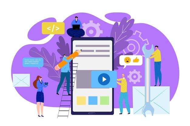 Дружественный интерфейс, иллюстрация современных концепций ux. иконки и творческие графические объекты, элементы для интернета, инфографика в приложении для смартфонов. удобные для пользователя технологии и медиа.