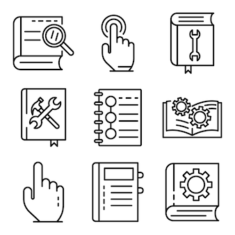 User guide icons set, outline style