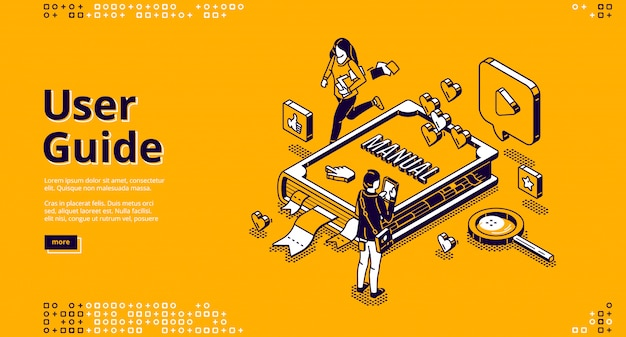 User guide isometric landing page, people and book