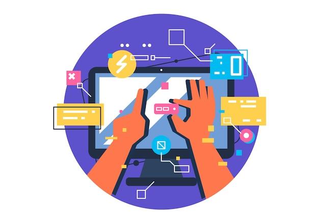 ユーザーインターフェイス、アプリケーション開発とui、ux。クリエイティブなイラスト。