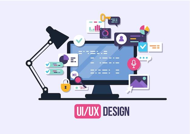 사용자 인터페이스, 애플리케이션 개발 및 ui, ux. 크리 에이 티브 일러스트.