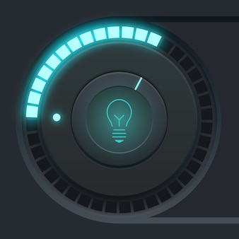User interface design concept with tumbler light scale and bulb icon