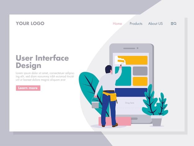 User interface design illustration for landing page
