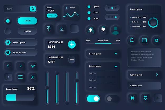 뱅킹 모바일 앱을위한 사용자 인터페이스 요소. 은행 계좌, 예금 및 신용 잔고 gui 템플릿의 재무 분석. 독특한 neumorphic ui ux 디자인 키트. 구성 요소 관리 및 탐색