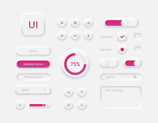 デスクトップまたはモバイルアプリのユーザーインターフェイス要素ニューモーフィックスタイルのボタンとスライダーのセット