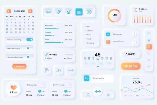 피트니스 모바일 앱용 사용자 인터페이스 요소입니다. 독특한 뉴 모픽 디자인 ui, ux, gui, kit 요소 템플릿. neumorphism 스타일. 다른 형태, 구성 요소, 버튼, 메뉴, 스포츠 벡터 아이콘.