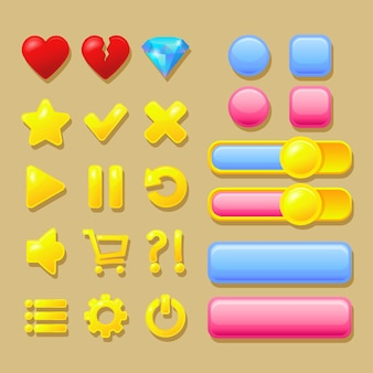 User interface elements, pink and blue buttons, heart, diamond, gold icons.