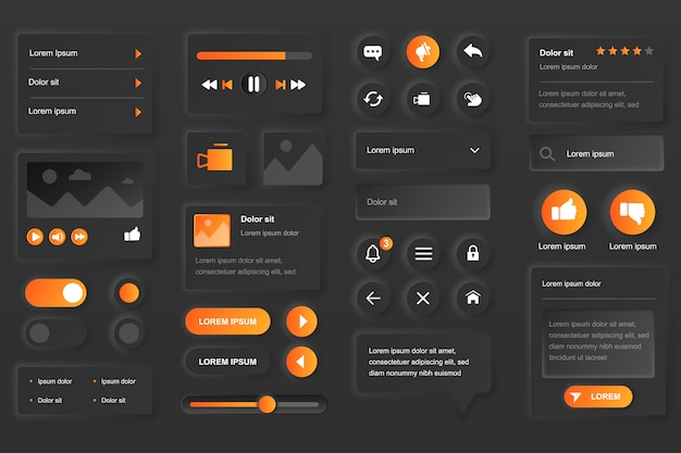 User interface elements for video tube mobile app. live streaming service, multimedia content, video player gui templates. unique neumorphic ui ux design kit. manage and navigation form and components