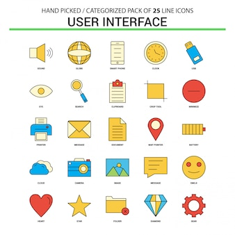 User interface flat line icon set
