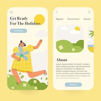 旅行、旅行、観光のモバイルアプリケーションのユーザーインターフェイス。オンボードスクリーンセットのモバイルアプリページ。モダンなイラスト。