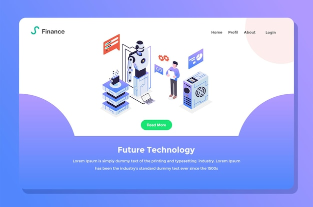User interface landing page. developers doing future tech with robot artificial intelligence settings  flat design style