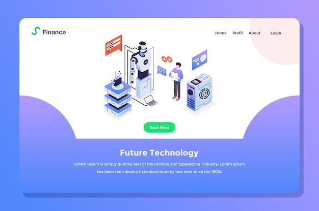 사용자 인터페이스 랜딩 페이지. 로봇 인공 지능 설정 플랫 디자인 스타일로 미래 기술을 수행하는 개발자 프리미엄 벡터