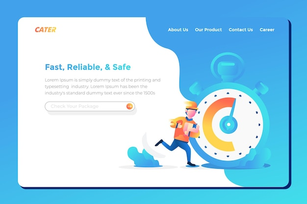 User interface landing page for fast and safe delivery order