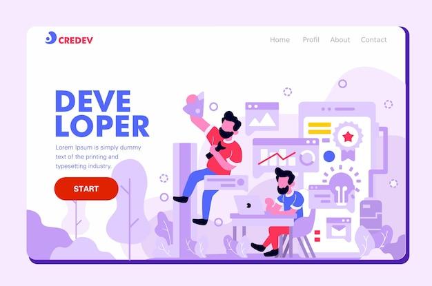 ユーザーインターフェイスランディングページモバイル開発者、フラットデザインスタイルの紫色