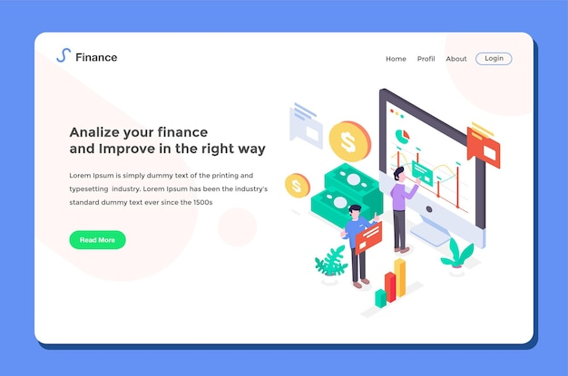 User interface landing page. workers doing financial analysis with diagram cash flat design style