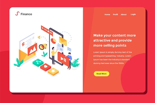 User interface landing page workers doing social media marketing