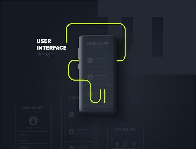 Пользовательский интерфейс мобильный телефон с макетом страницы для мобильного приложения