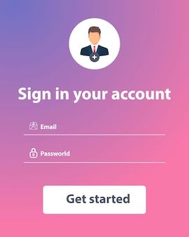 User interface template. sign in and sign up form page. web template and elements for site form of login to account. web elements. ux. sign up form