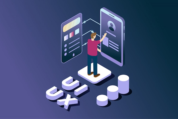 User interface and user experience developer in isometric