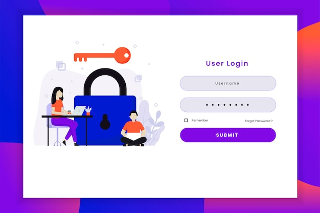 User login illustration with key