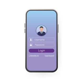 Смартфон пользователя для входа на сайт. пользовательский интерфейс страницы приложения. телефон, мобильный, смартфон. экран устройства. иконка бизнес.