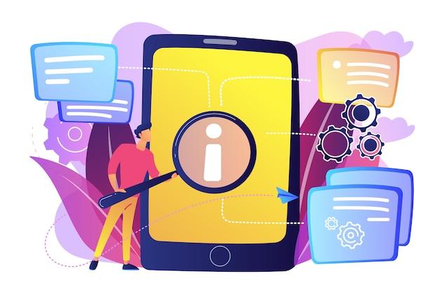 Utente alla ricerca di informazioni in tablet con illustrazione lente d'ingrandimento