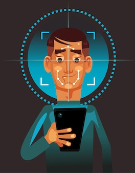 スマートフォンを保持し、顔をスキャンするユーザー男性キャラクター