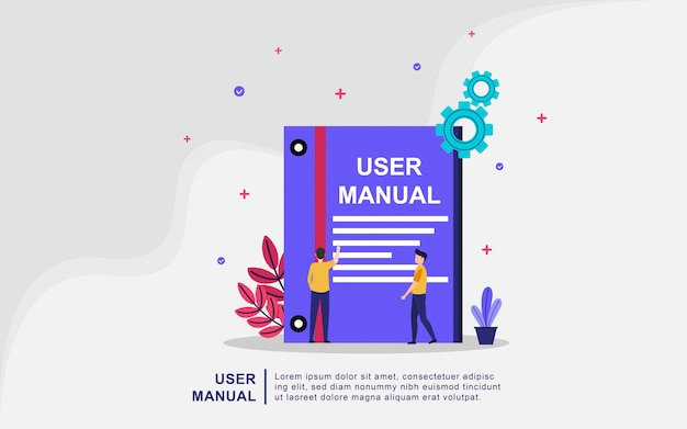 User manual book concept with people. guide, operating instructions