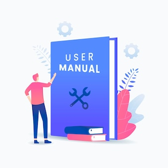 User manual book concept.