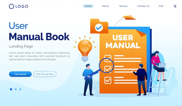 User manual book landing page website flat illustration vector template