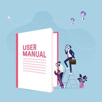 ユーザーマニュアルのコンセプト-ガイドの指示または教科書を持つビジネスマン