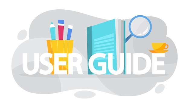 User manual concept. guide book or instruction