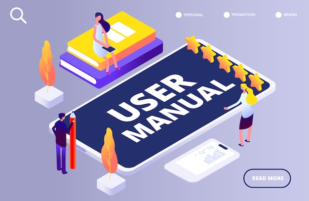 User manual concept. people with guide instruction on smartphone app  illustration