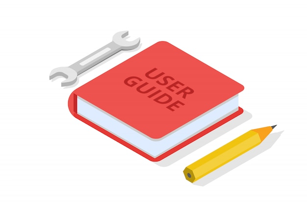 User manual, guide, instruction, guidebook, handbook isometric concept.  illustration.