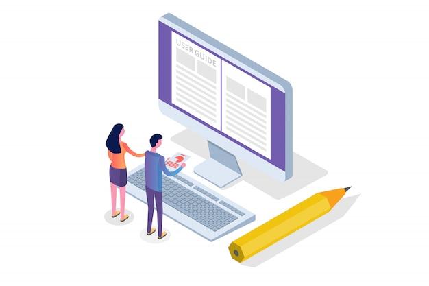 ユーザーマニュアル、ガイド、指示、ガイドブック、ハンドブック等尺性概念。図。