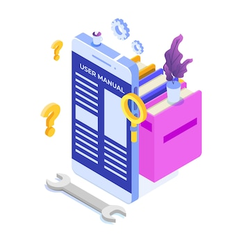 User manual on mobile device isometric icon concept